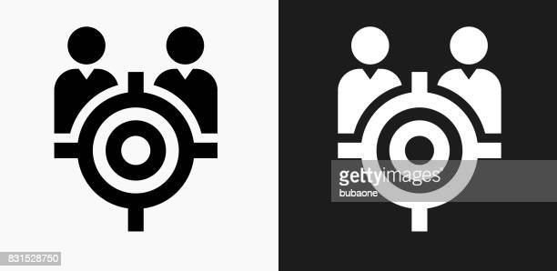 target people icon on black and white vector backgrounds - sport set competition round stock illustrations