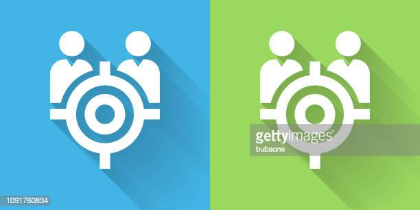 Target People Icon with Long Shadow