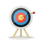 Target with arrow. Business success concept. Vector flat target isolated icon