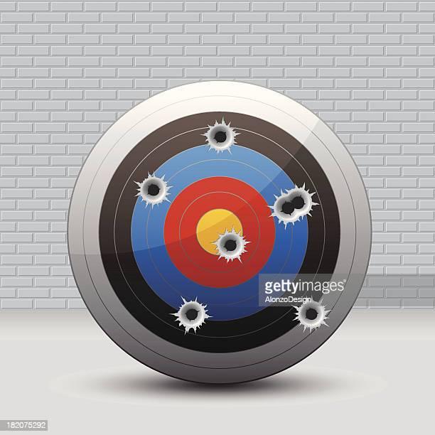 ilustrações de stock, clip art, desenhos animados e ícones de alvo com buracos de bala - metralhadora