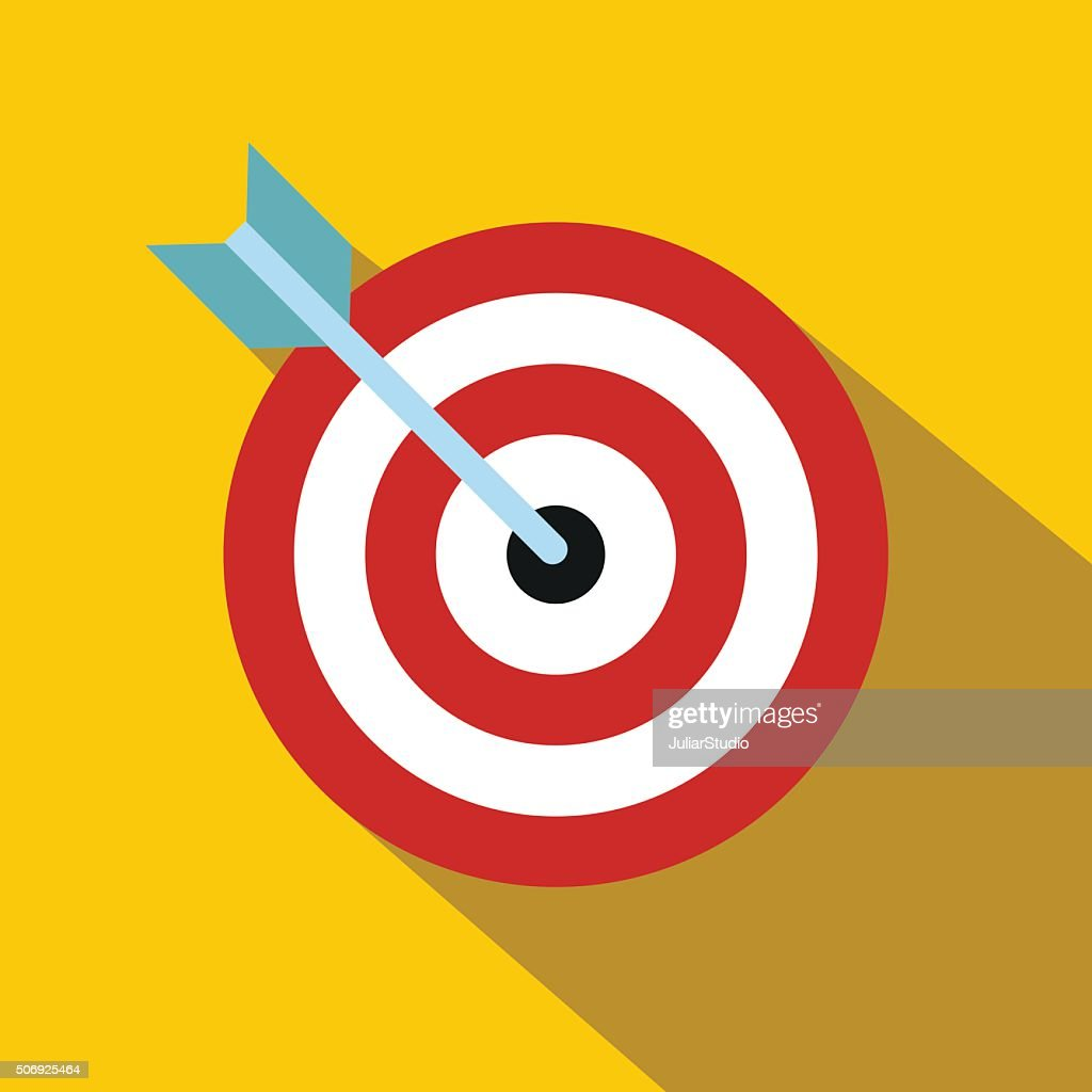 Target with dart flat icon
