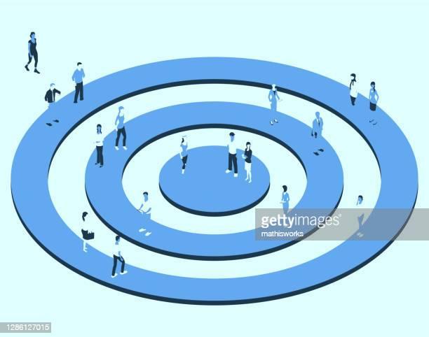 ziel mit personen in einer blauen farbpalette - zielgruppe stock-grafiken, -clipart, -cartoons und -symbole