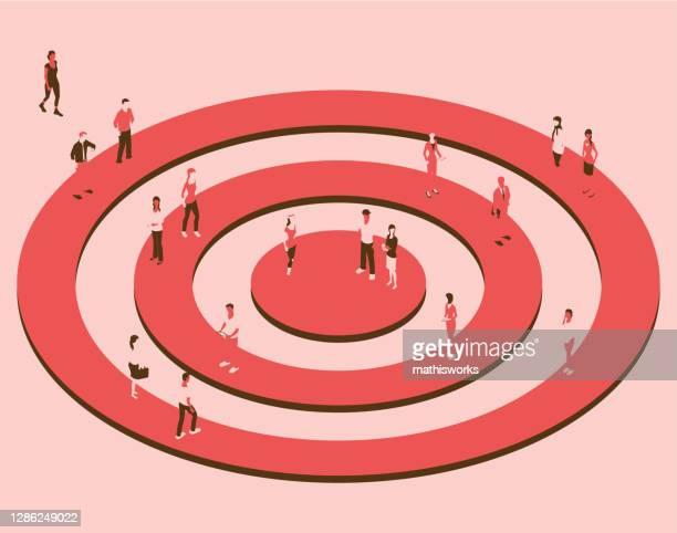 ziel mit personen in einer roten farbpalette - zielgruppe stock-grafiken, -clipart, -cartoons und -symbole