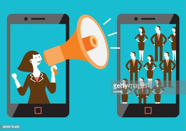 targeted mobile marketing (mixed-sex) | new business concept - influencer stock illustrations