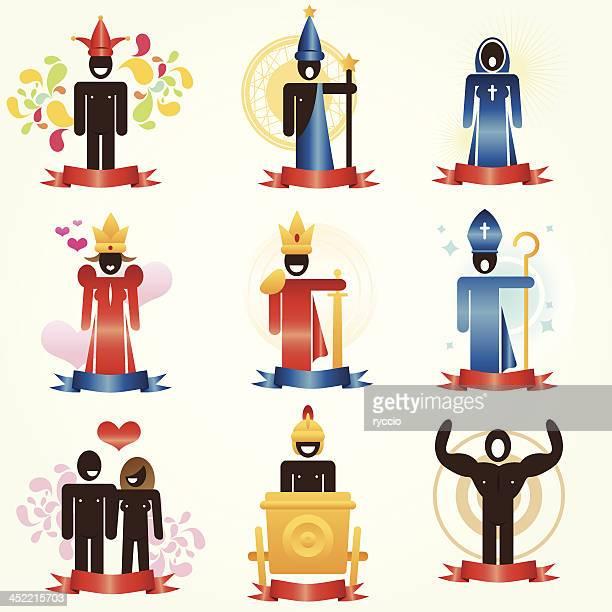 tarots characters - top knot stock illustrations, clip art, cartoons, & icons
