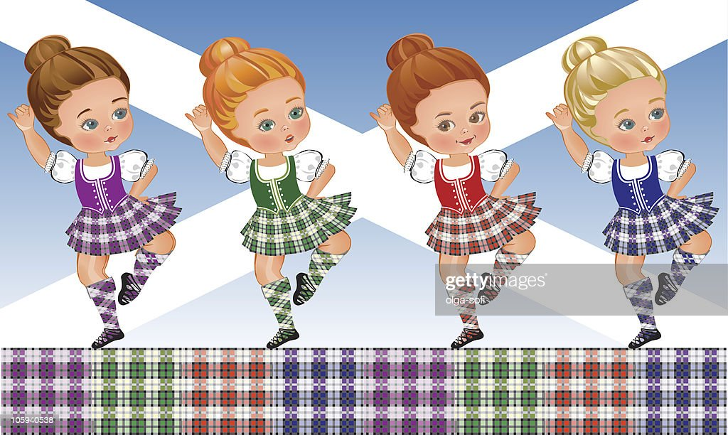 Tartan Day - Scottish dance : stock illustration