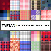 Tartan seamless pattern background set
