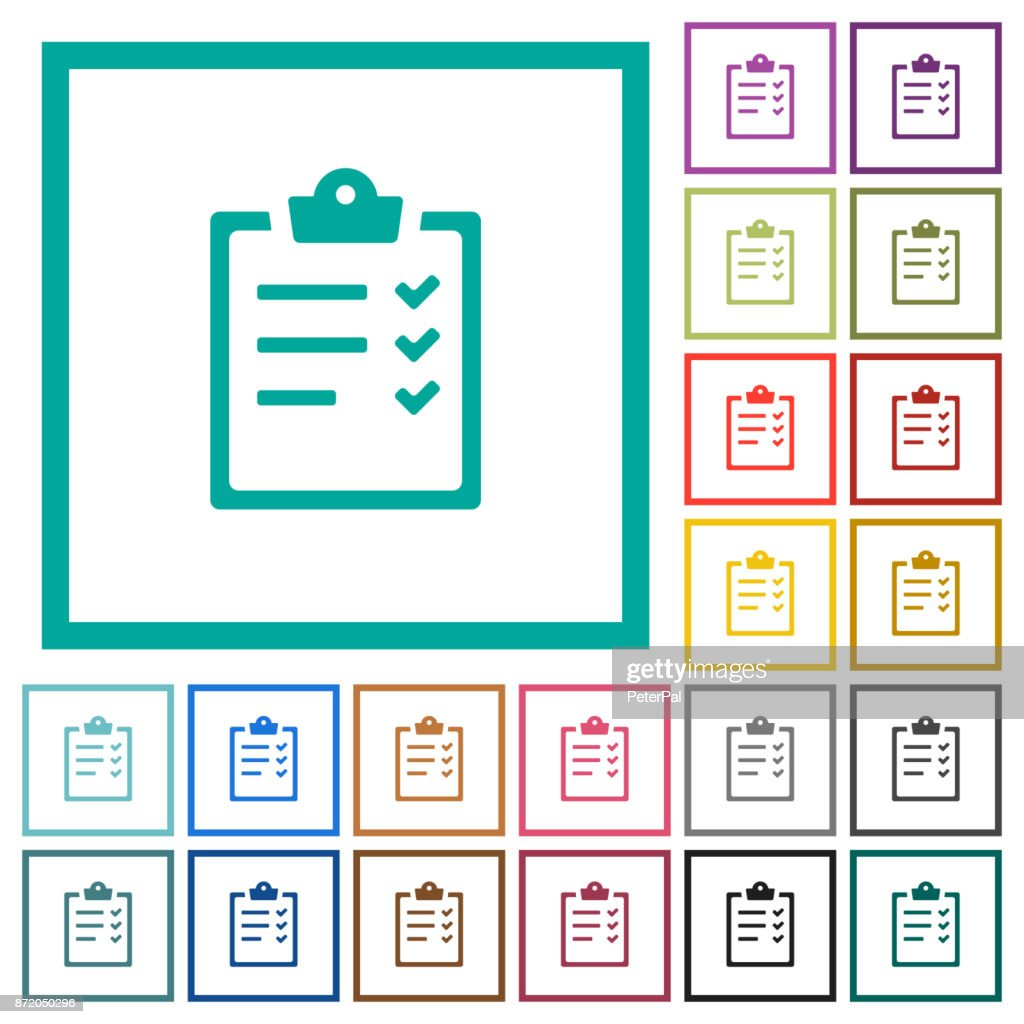 Task list flat color icons with quadrant frames