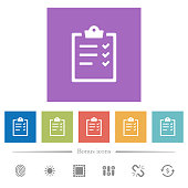 Task list flat white icons in square backgrounds