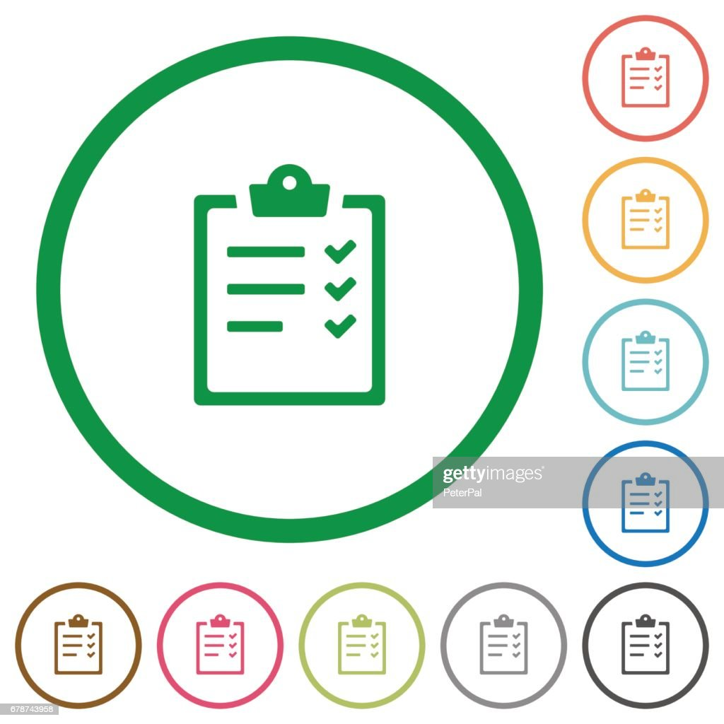 Task list outlined flat icons