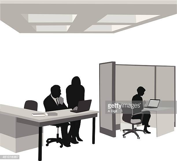 tasking - office cubicle stock illustrations, clip art, cartoons, & icons