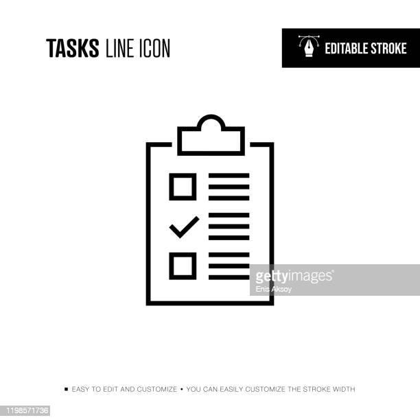 tasks line icon - editable stroke - checklist stock illustrations