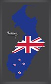 Tasman New Zealand map with national flag illustration