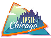 Taste of Chicago banner. Flat town with title. Vector illustration