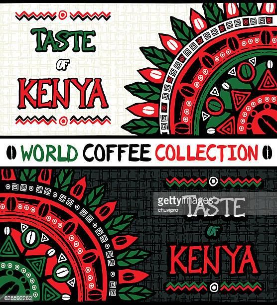 illustrazioni stock, clip art, cartoni animati e icone di tendenza di taste of kenya. set of two hand drawn illustrations - kenya