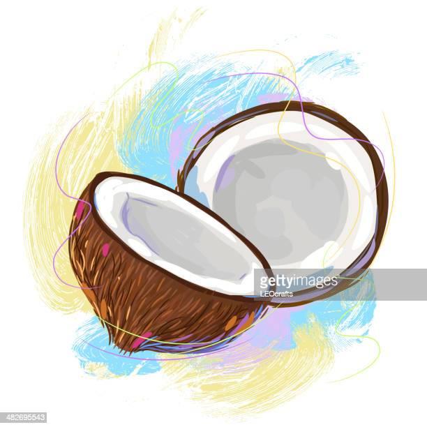tasty coconut - coconut milk stock illustrations, clip art, cartoons, & icons