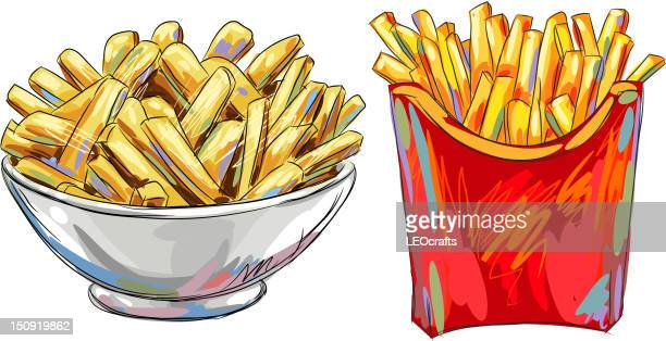 tasty french fries isolated on white - french fries stock illustrations, clip art, cartoons, & icons
