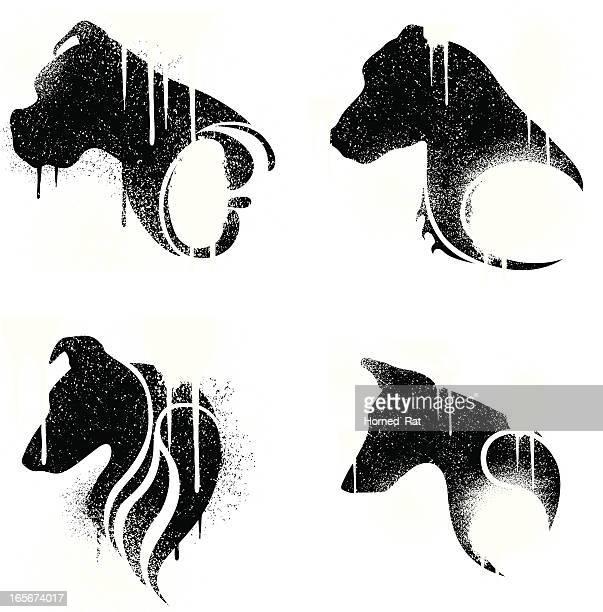 stockillustraties, clipart, cartoons en iconen met tatoos - grudge dogs - golden retriever