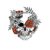 Tattoo anatomy vintage floral skull illustration. Floral skeleton. Vector illustration