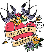 Tattoo art. Two hearts pierced by arrow. Tattoo hearts with flower and swallows. Together forever