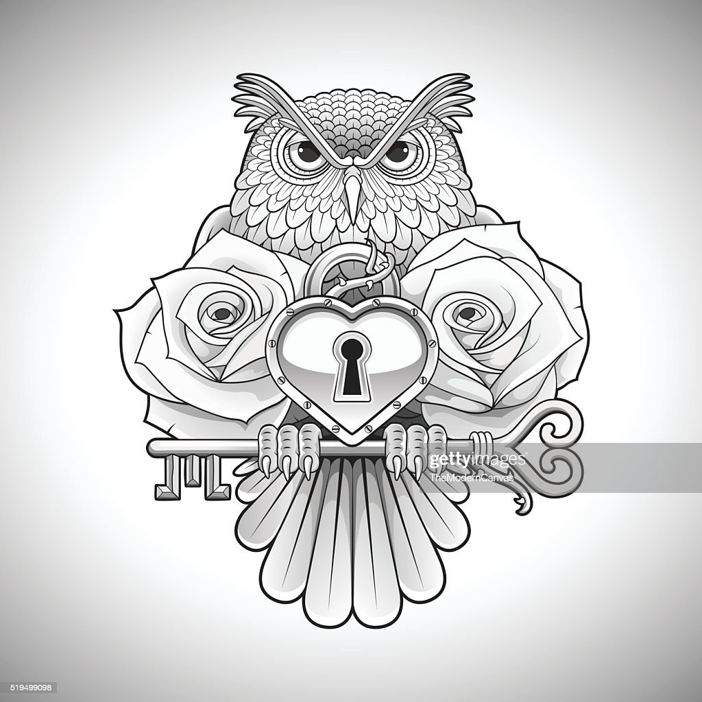 Tattoo design of owl holding key, heart locket and roses.