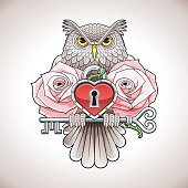 Tattoo design of owl holding key with heart locket, roses