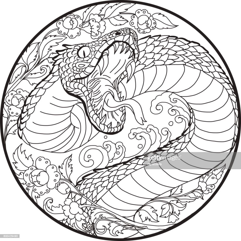 tattoo design Snake with Line Thai flower