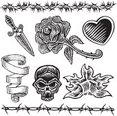 Tattoo Designs Heart Knife Rose Flame