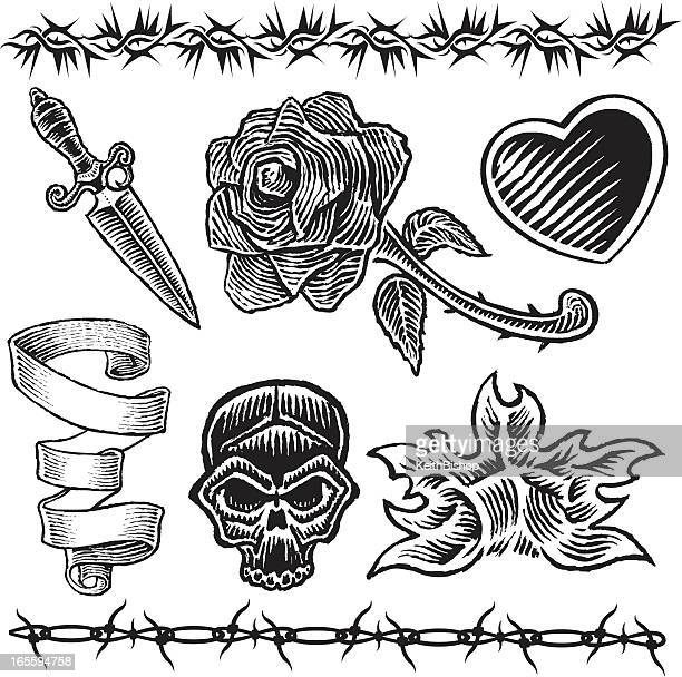 Tattoo Designs Heart Knife Rose Flame