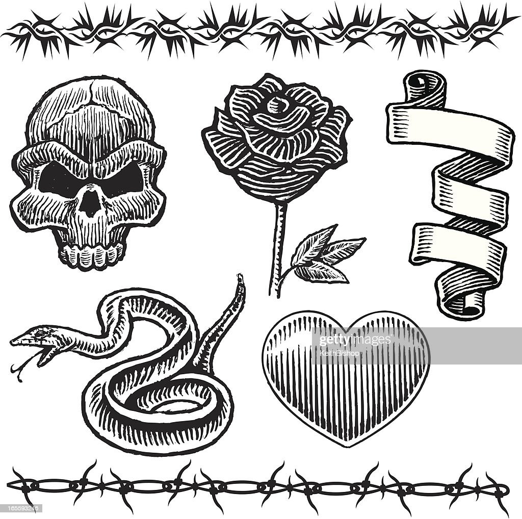 Tattoo Designs Skull Snake Heart Rose Barbed Wire Vector Art | Getty ...