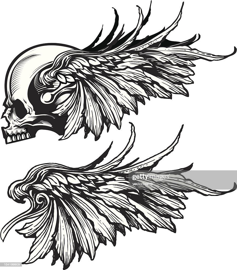 Tattoo Elements - Isolated Skull and Wings Profile