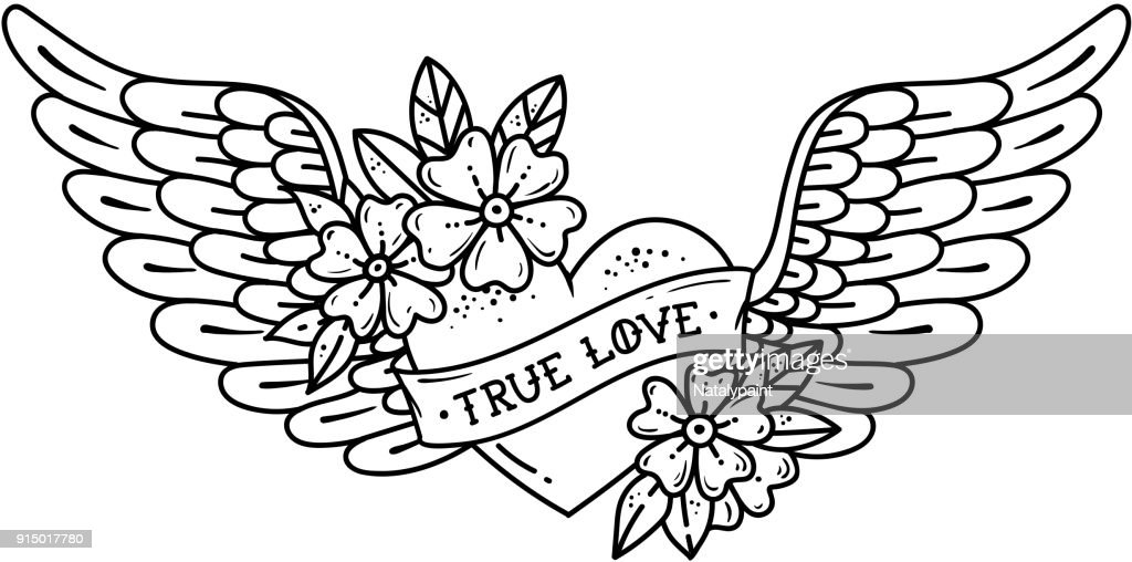 Tattoo flying heart with wings. Tattoo heart with ribbon and flowers. TRUE LOVE. Black and white illustration