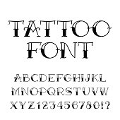 Tattoo font. Vintage style alphabet. Letters and numbers.
