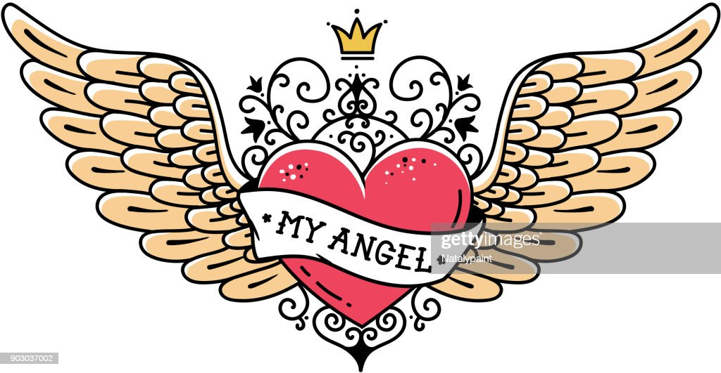 Tattoo heart with crown and forged ornament.Tattoo heart with wings, ribbon and flowers.Tattoo with phrase MY ANGEL
