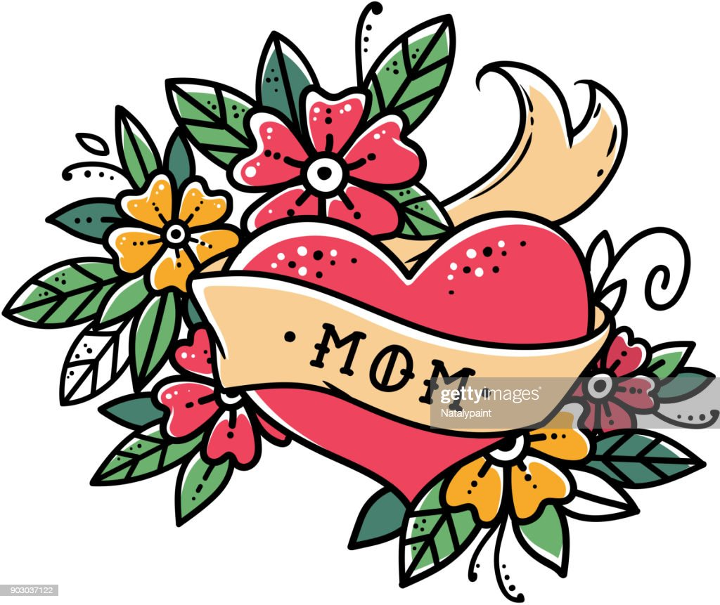 Tattoo heart with ribbon, flowers and word MOM Old school retro vector illustration. Retro tattoo.