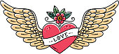 Tattoo heart with wings, flower and ribbon with lettering Love. Old school style. Flying heart. Line art drawing