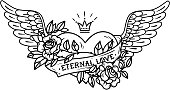 Tattoo heart with wings, ribbon, roses and crown. Black and white illustration