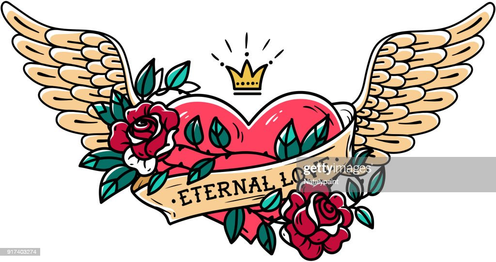 Tattoo heart with wings, ribbon, roses and crown. Old school tattoo