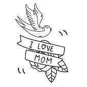 Tattoo I Love Mom Ribbon Bird Background Vector Image