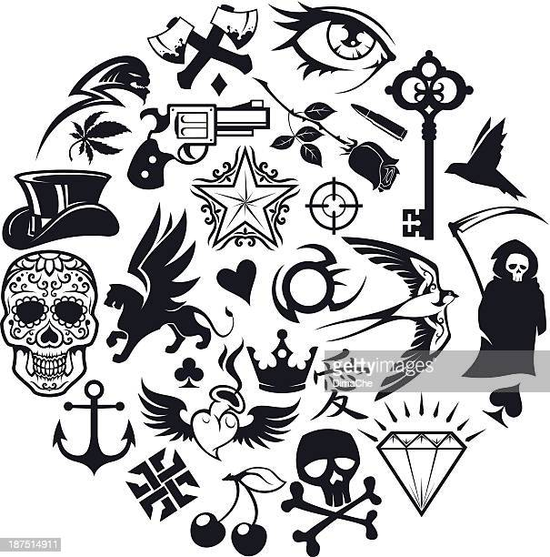tattoo icons set - hatchet stock illustrations, clip art, cartoons, & icons