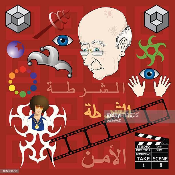 tattoo icons (vector) - arabic script stock illustrations, clip art, cartoons, & icons