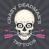Tattoo parlor template. Hipster skull with crossed arrows.  Cool poster