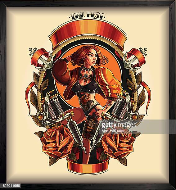 tattoo pin up poster - pin up girl stock illustrations, clip art, cartoons, & icons