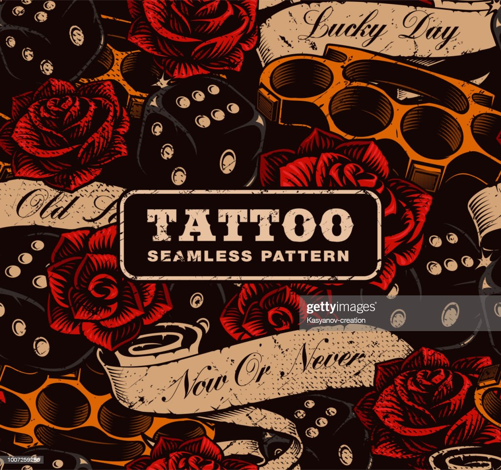 Tattoo seamless background.