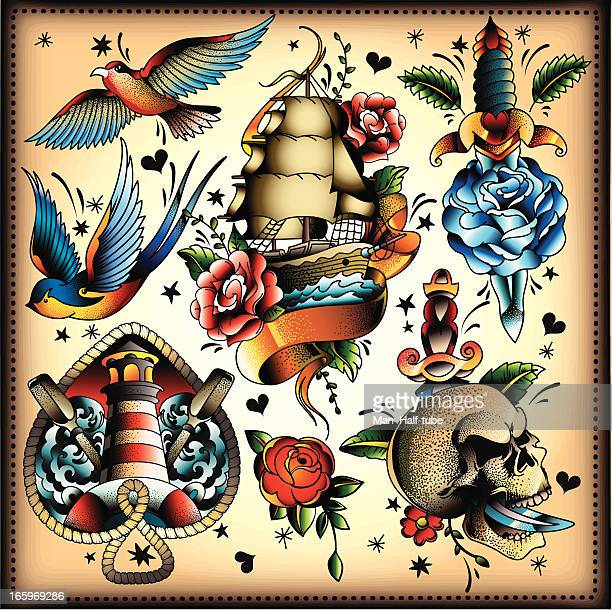 tattoo set - pirate boat stock illustrations, clip art, cartoons, & icons