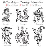 Tattoo set with hand drawn antique mythology characters