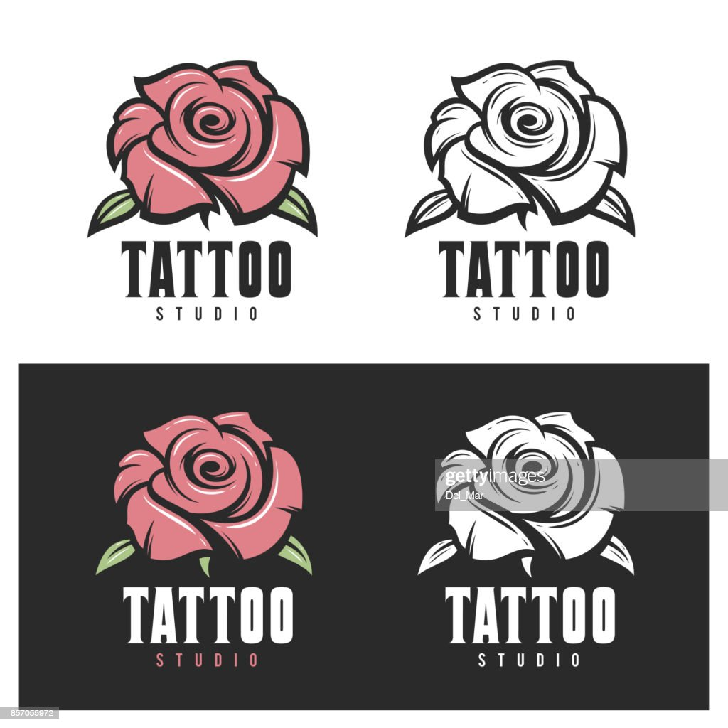 Tattoo studio rose emblem. Vector vintage illustration.