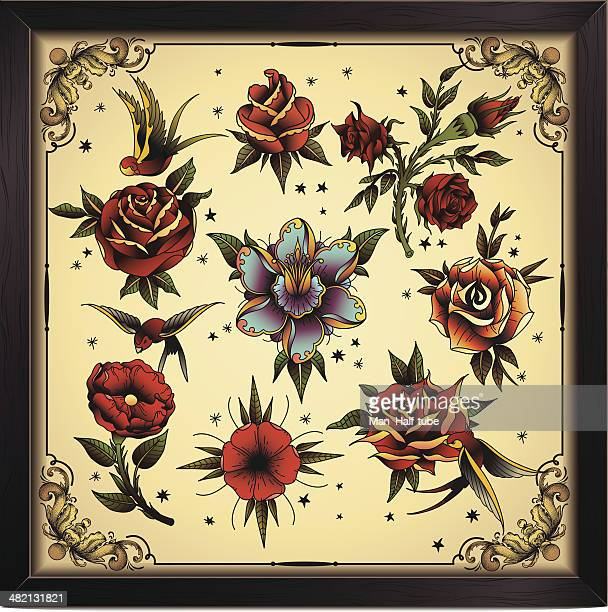 tattoo style flowers - poppy stock illustrations, clip art, cartoons, & icons