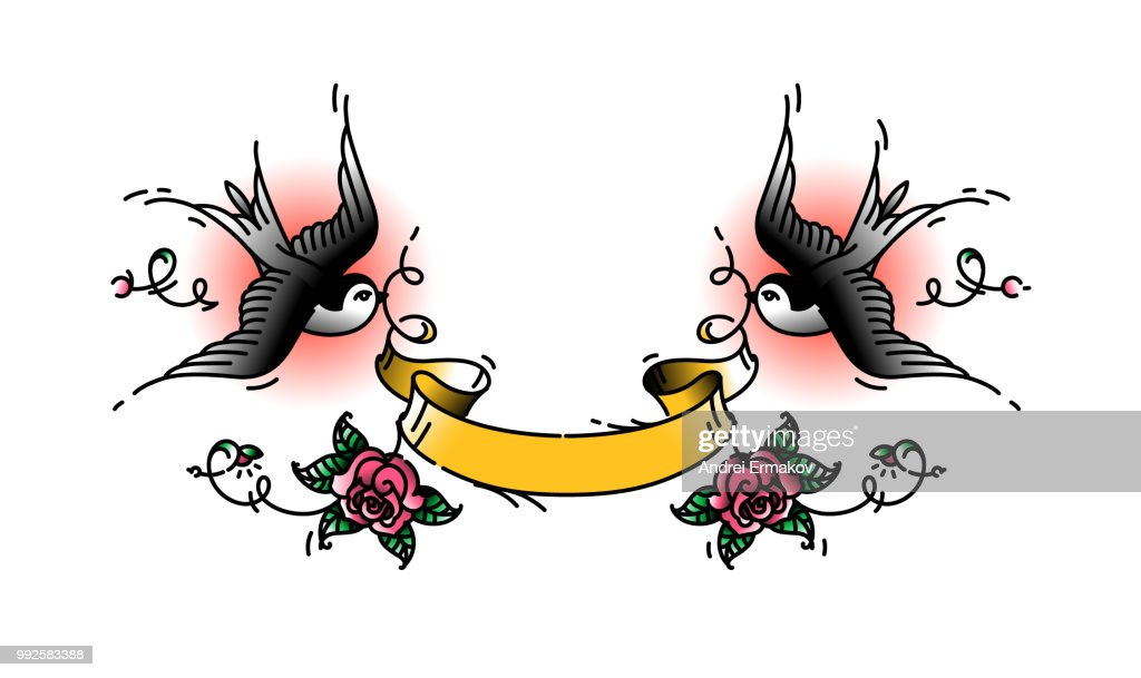 Tattoo swallows with a ribbon for any signature. Vector illustration. Tattoo, American old school. Two birds Swallows, with roses. Yellow ribbon for inscriptions.