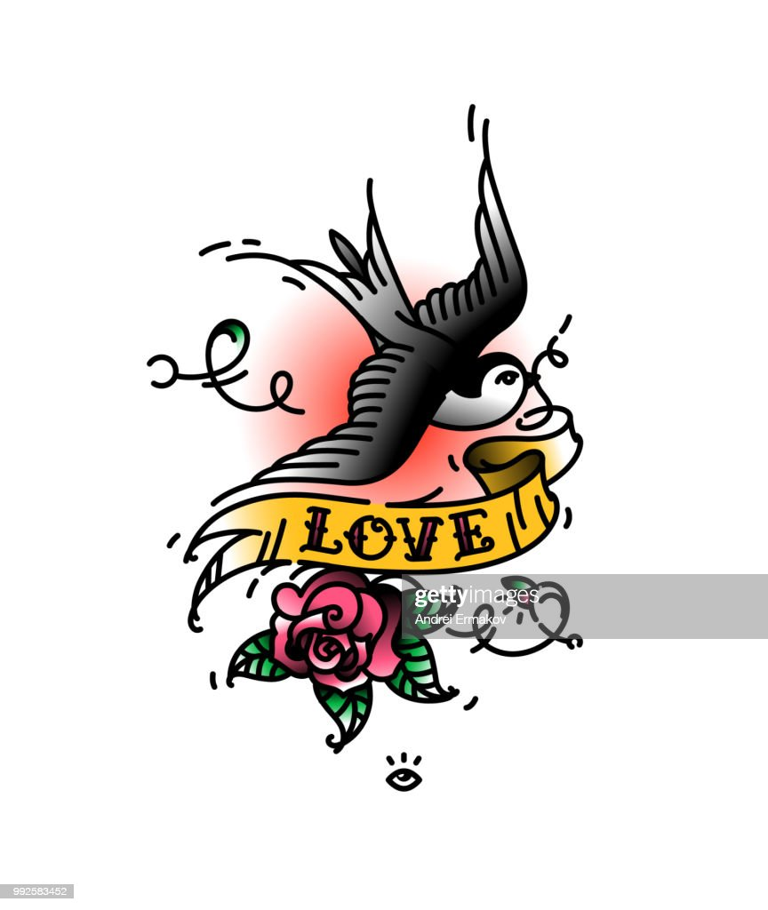 Tattoo Swallows with the inscription Love and a rose bud from below. Vector illustration. Tattoo of an American old school. Bird swift with ribbon and flower. A popular color tattoo.